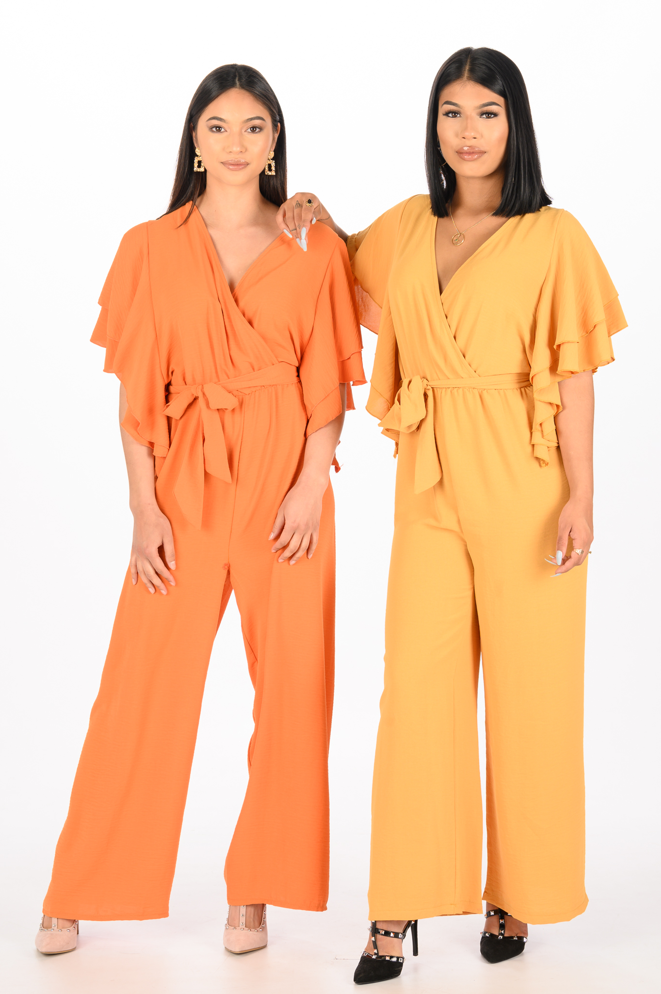 Oranje Ruffle Jumpsuit