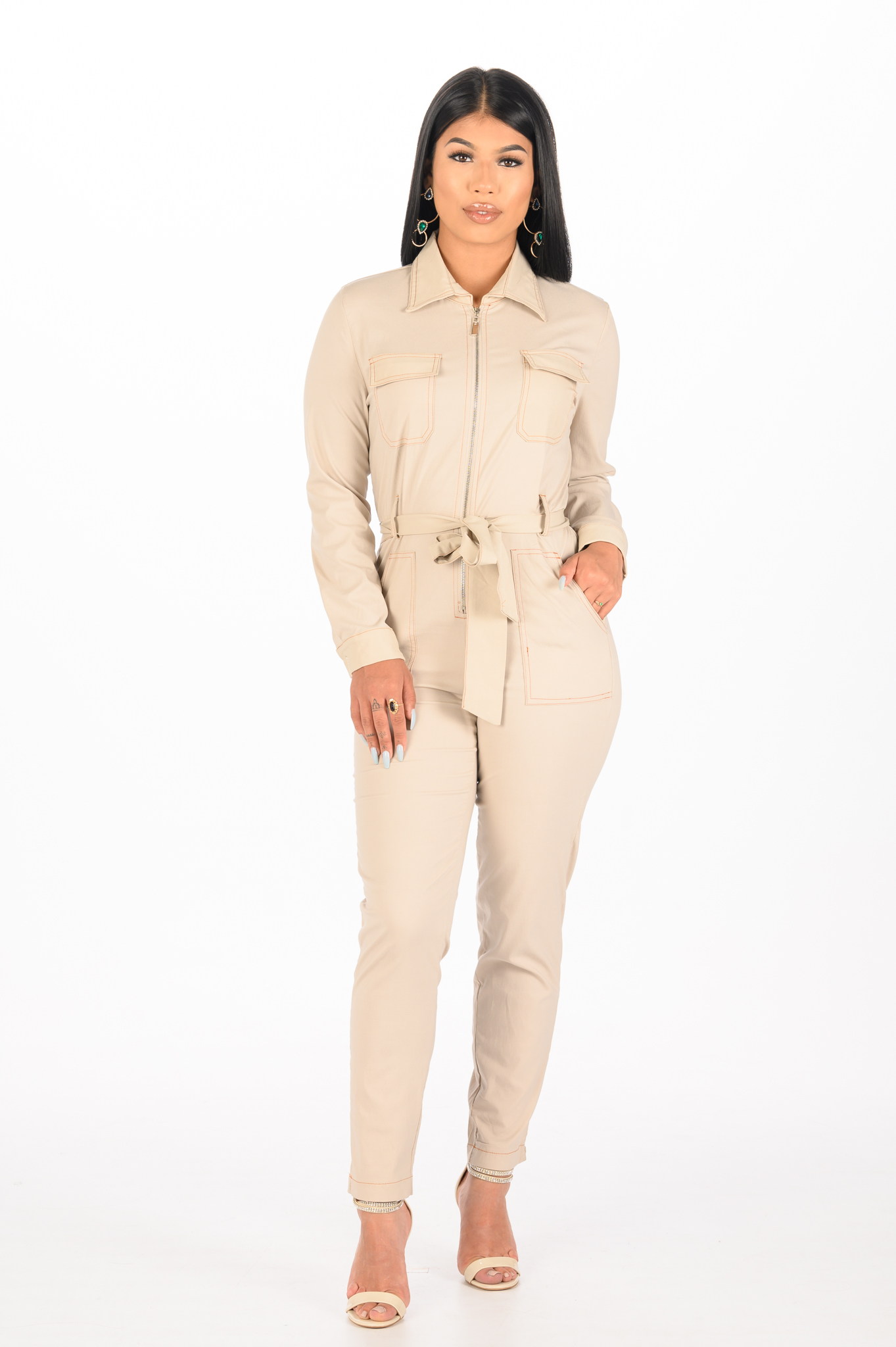 Beige Jumpsuit Madam Peach