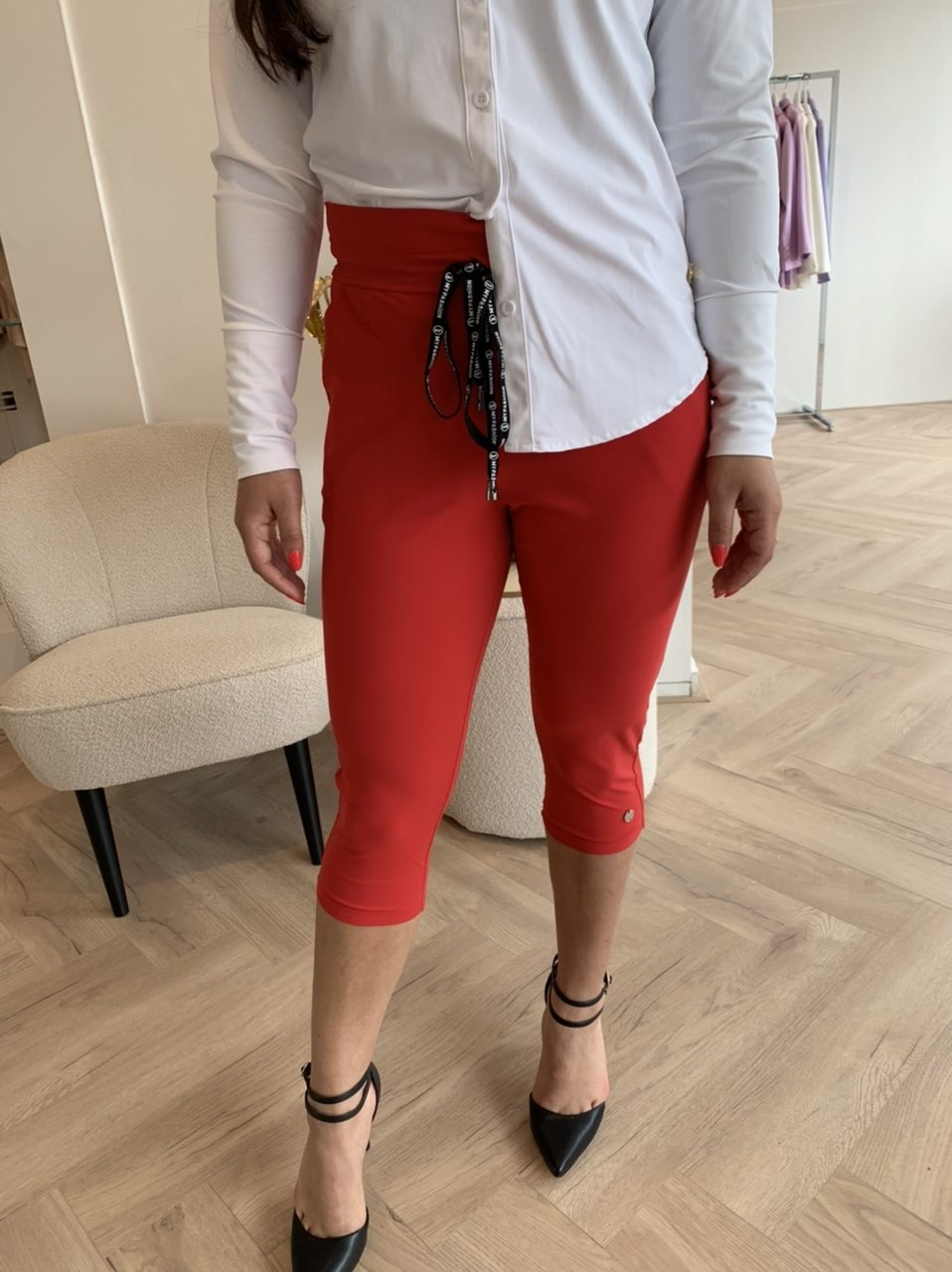 My Pashion - Travelstof Capri Broek - Red