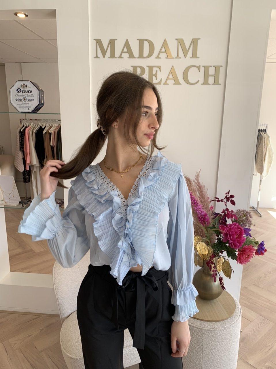 Madam Peach - Ruffle Top - Blue