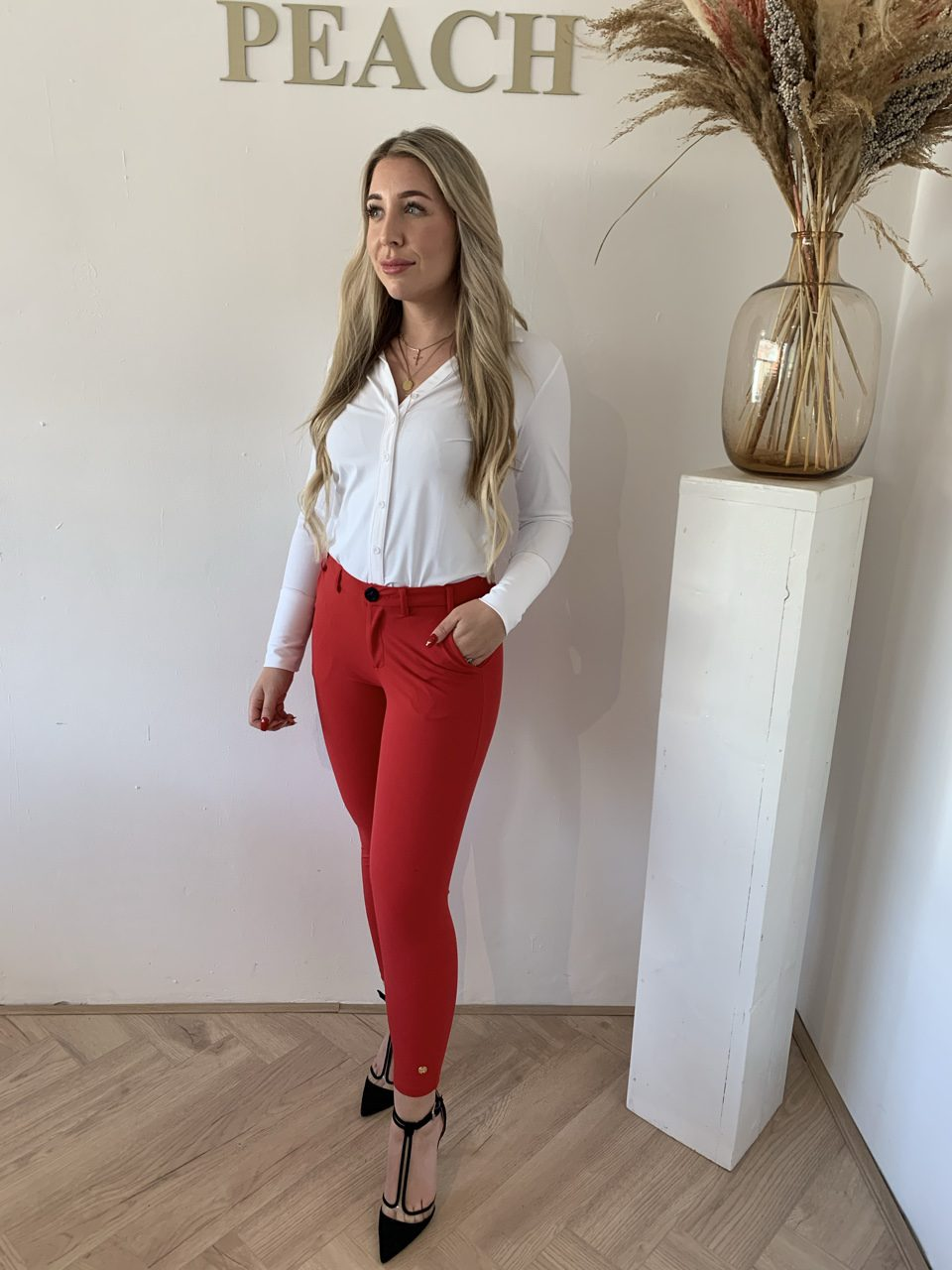 Y-Conic Blouse Rood Travelstof Kleding