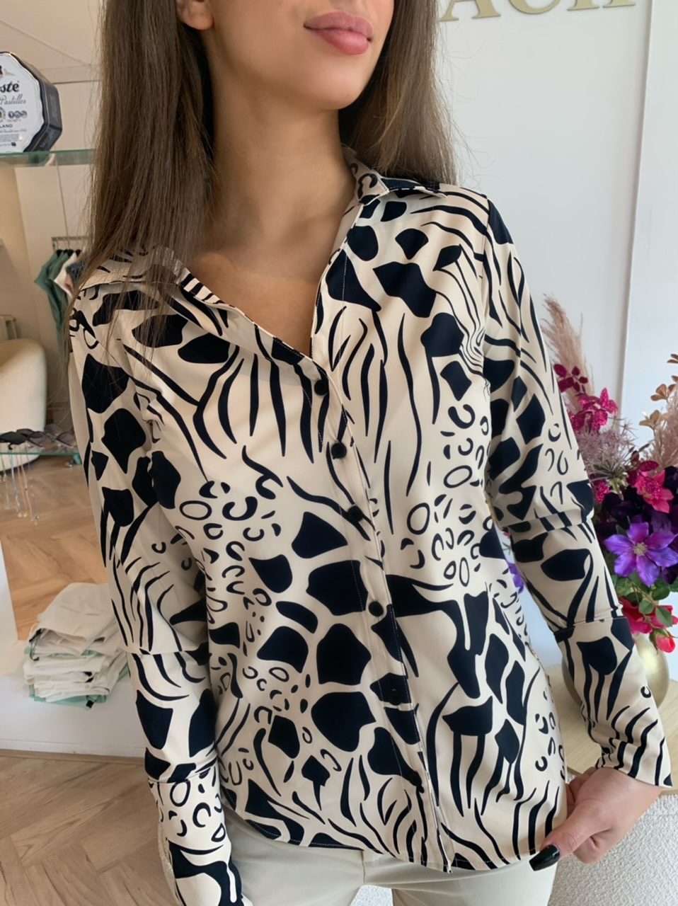 Y-Conic Blouse Travelstof Animal Sand